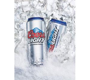 Пиво Coors Light в алюминиевой банке с термознаком